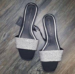 Zara Rhinestone slides, size 10 (40)